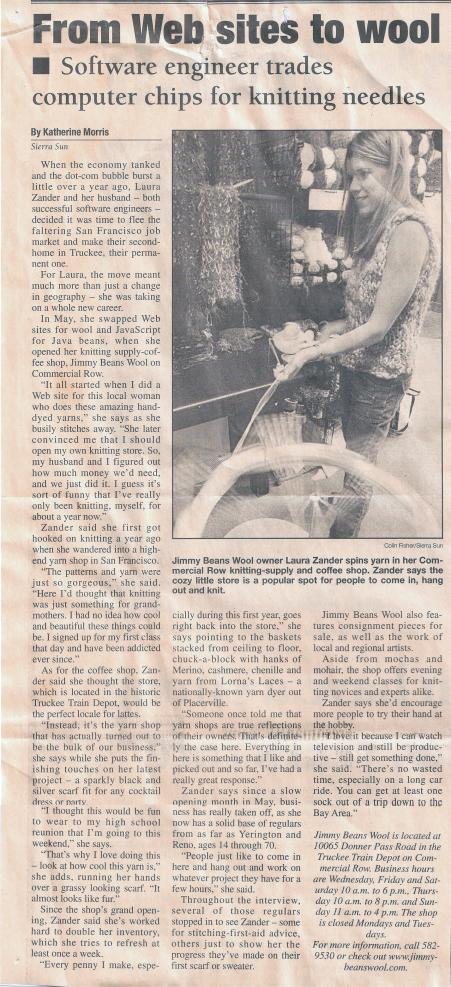 2003 Sierra Sun article about Jimmy Beans Wool