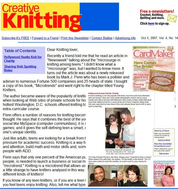 2007 October Creative Knitting E-Newsletter