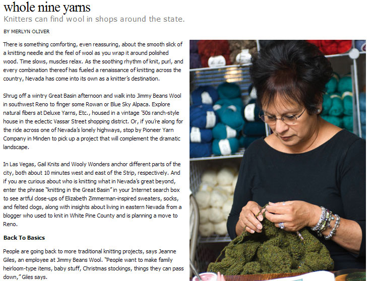 October 2007 - Nevada Magazine profiles multiple knitting stores around Nevada