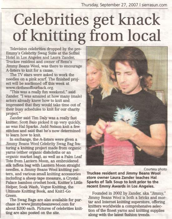 2007 Reno Gazette Journal and Sierra Sun Article about Jimmy Teaching Celebrities to Knit