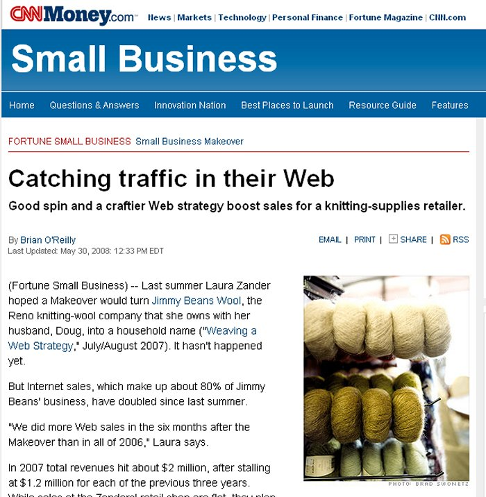 Fortune - Catching Traffic in Their Web - May, 2008 Article - Profiling JBW
