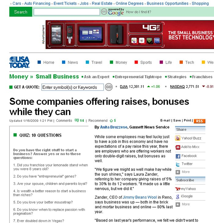 USA Today - Some Companies Offering Raises, Bonuses While They Can - January, 2009 Article - Profiling JBW