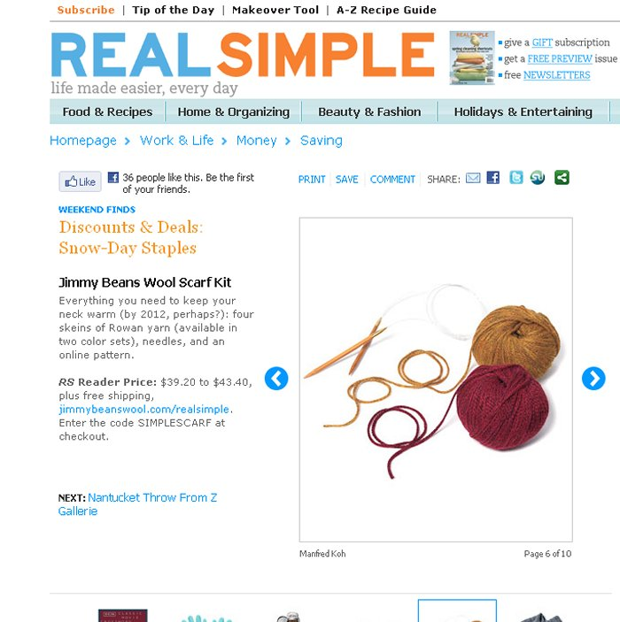 Real Simple - Snow Day Staples - January, 2011 - Profiling JBW Kit