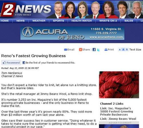 KTVN Reno 2 News - Reno's Fastest Growing Business - August, 2009 Article - Profiling JBW