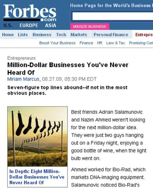 Forbes.com - Million Dollar Businesses You've Never Heard OF - August, 2009 Article - Profiling JBW