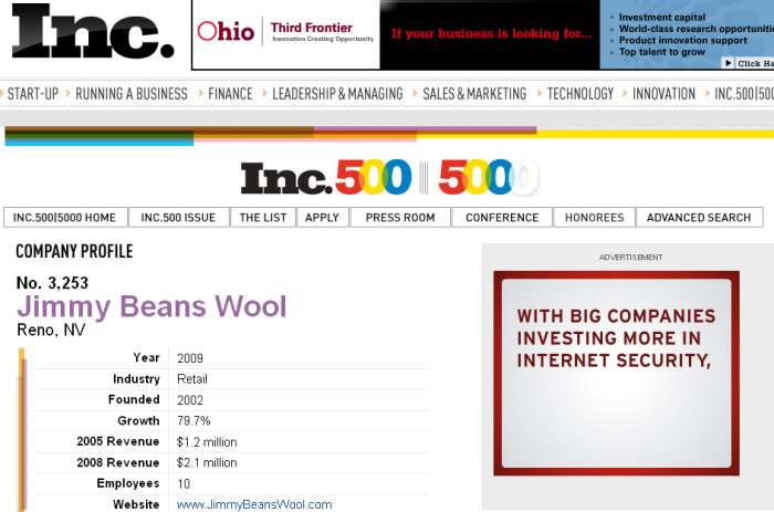 Inc Magazine - 2009 Inc. 5000 - Ranking JBW at 3,253