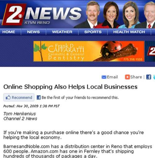 KTVN Reno 2 News - Online Shopping Also Helps Local Business - November, 2009 Article - Profiling JBW