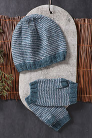 Blue Sky Fibers Icy Stripes Hat & Mitts Kit