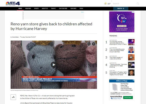 Reno yarn store gives back to children affected by Hurricane Harvey