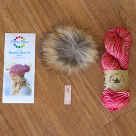 Jimmy Beans Wool Breast Cancer Awareness kits Pom Pom Hat kit (Fragrant) - Knit