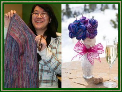 Ailene with her Linen Stitch Scarf