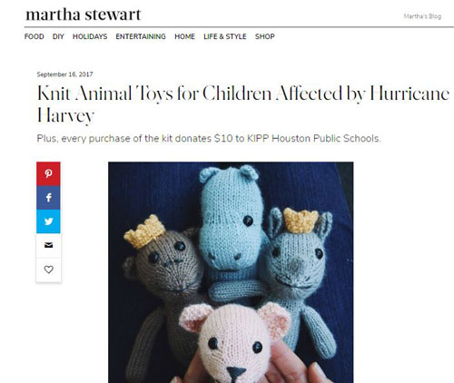 Knit Animal Toys for Children Affected by Hurricane Harvey