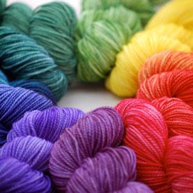 Rainbow selection of yarn Neighborhood Fiber Co.