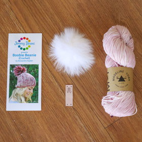 Jimmy Beans Wool Breast Cancer Awareness kits Pom Pom Hat kit (Rose) - Crochet