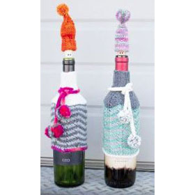 Chevron Wine Bottle Cozy and Wine Gnome Cork Topper Rachel Roden Free Pattern Friday