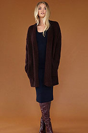 Brushed Fleece Chocolate Cardigan