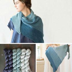 collage of indigo-sea-shawl yarn
