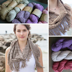 collage of isishawl yarn