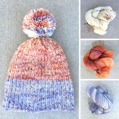 picture of hat made with three different yarns