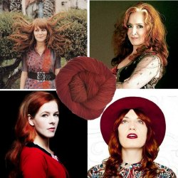 Red-headed Lady Rockers and Red Rocker yarn