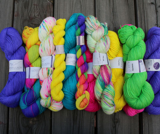 Neon Lornas Fresh yarn side by side