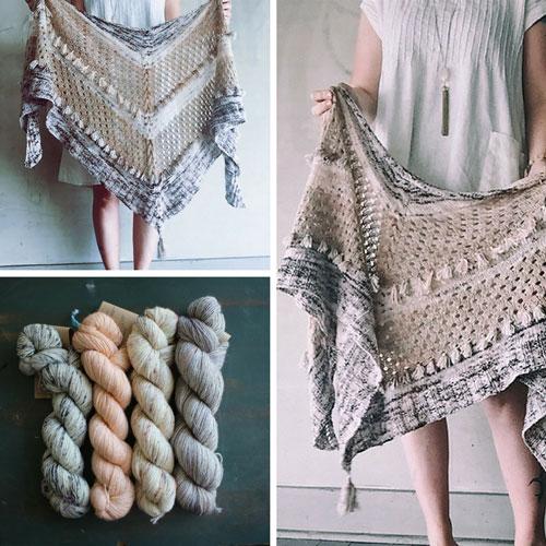 collage of ohrashalw yarn