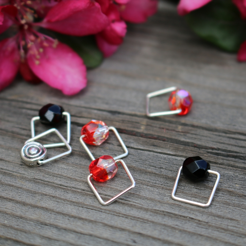 Rhodonite-Inspired Stitch Markers