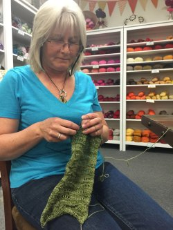 Terry Knitting her Anzula Scarf