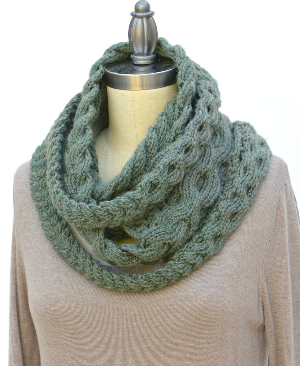 Вязание шарфа снуд спицами косами
