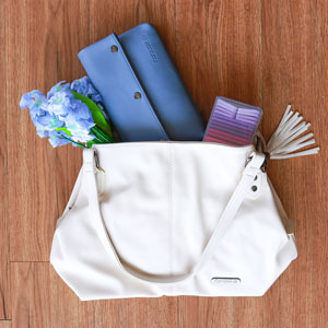 Namaste Maker's Fully Loaded Shoulder Bag kits Cream/Slate Blue
