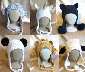 Knitting Pure and Simple Hat and Mitten Patterns - 1306 Animal Hats Pattern a...