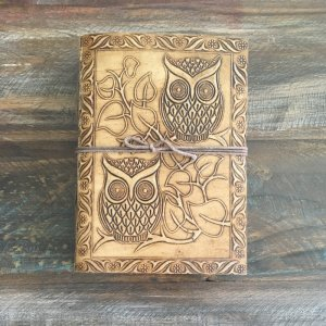 Leather Journal - Brown - Owls