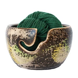 LickinFlames Yarn Bowl Medium - Obvara Green/Yellow