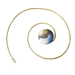 LickinFlames Spiral Shawl Pin Raku - Blue