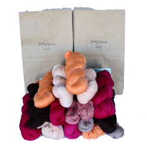 Jimmy Beans Wool Fingering Mystery Yarn Grab Bags yarn Oranges, Reds, Pinks
