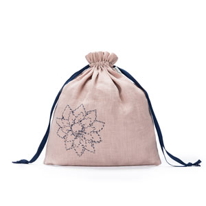 della Q Large Eden Cotton Pouch - 119-2 *Linen - Blush Flower