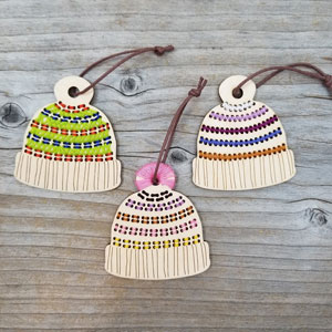 Katrinkles Stitchable Ornaments Striped Hat Blank