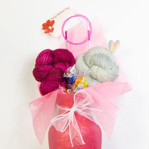 Jimmy Beans Wool Emiliana Wrap Valentine Bouquet kits Silver Fox & Coquette (Ships Late Jan)