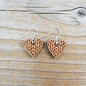 Katrinkles Knit Jewelry Heart Earrings
