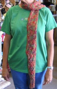 To and Fro Lace Scarf on person!