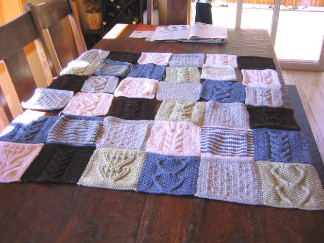 Knitting Quilt Magazine : Blue sky organic cotton patchwork blanket knitting