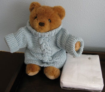 Baby Z's Sweater for Baby and for Bear!