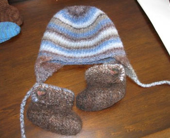 Felted Hat and Booties for Huck