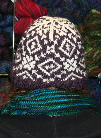 Erika's Rose Red Fair Isle hat