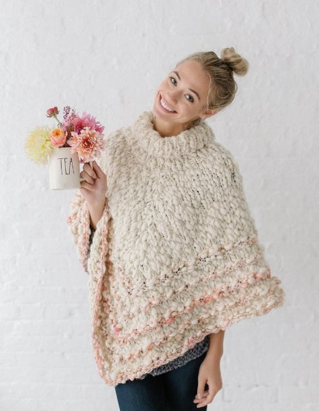 Knit Collage Patterns Rustic Handspun Poncho Pdf Download