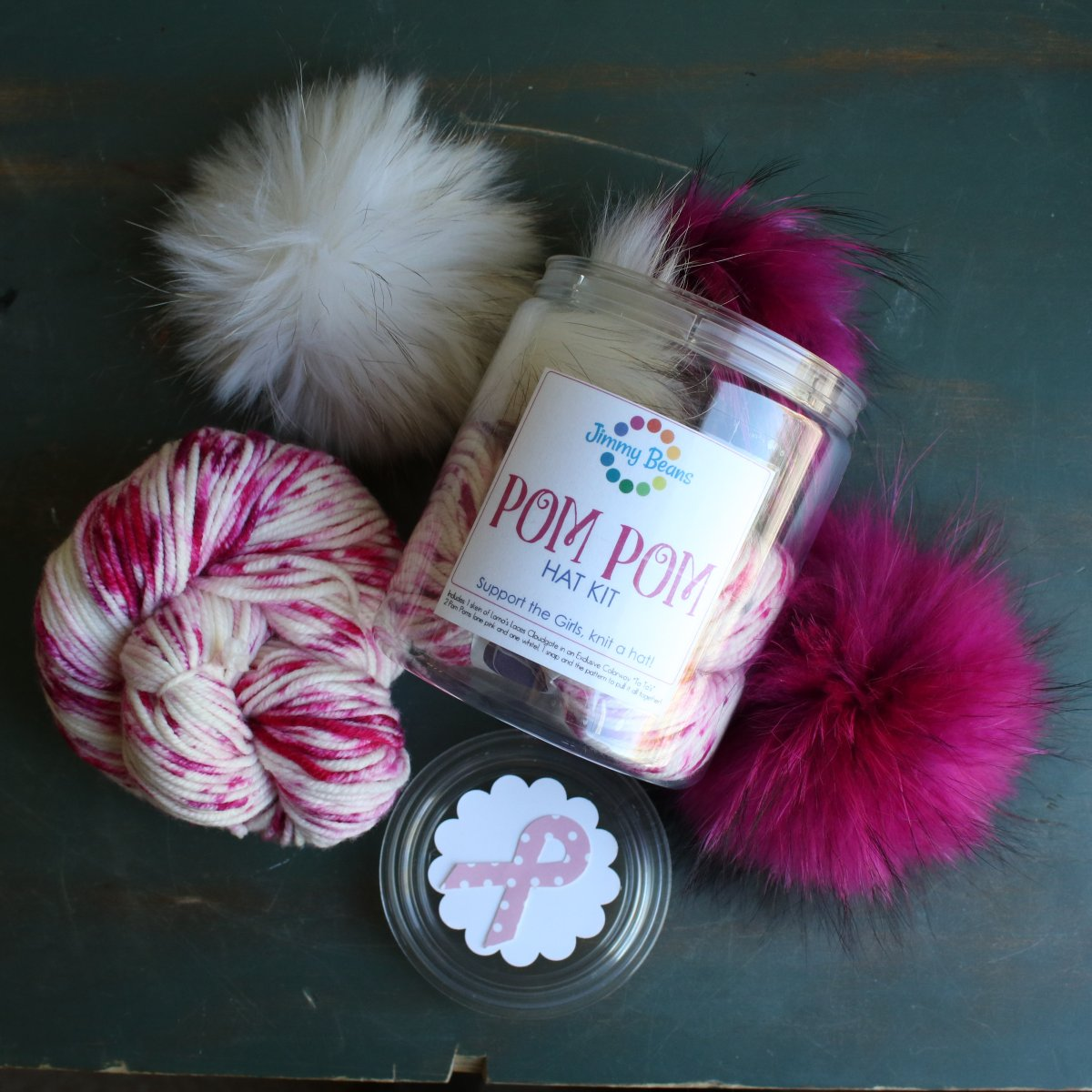 Jimmy Beans Wool Breast Cancer Awareness Pom Hat Kit Ta Tas Freckles Backpack Owl Blue Pink Bayi Image 1