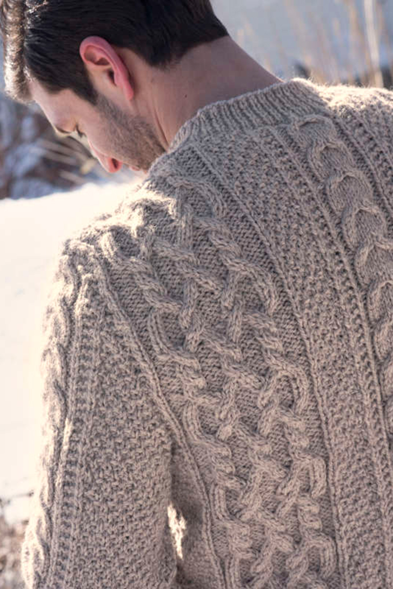 d389bb45c Image  3. Classic Aran styling adorns this men s sweater knitting pattern.
