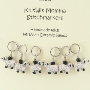 KnitWit Momma Pewter Stitch Markers - Ceramic Sheep