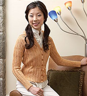Lornas Laces Shepherd Sock Butterscotch Crocheted Cardigan Kit - Crochet for Adults