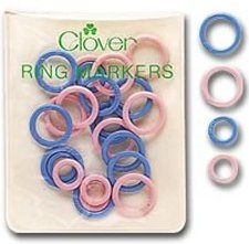 Clover Stitch Markers - Stitch Marker Rings - Pink and Blue